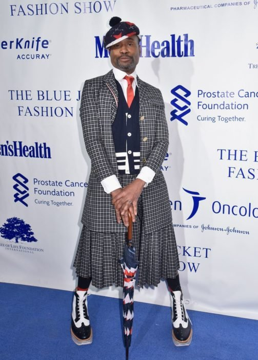 Billy Porter Falda y traje cuadros negro Blue Jacket Fashion Show 2019