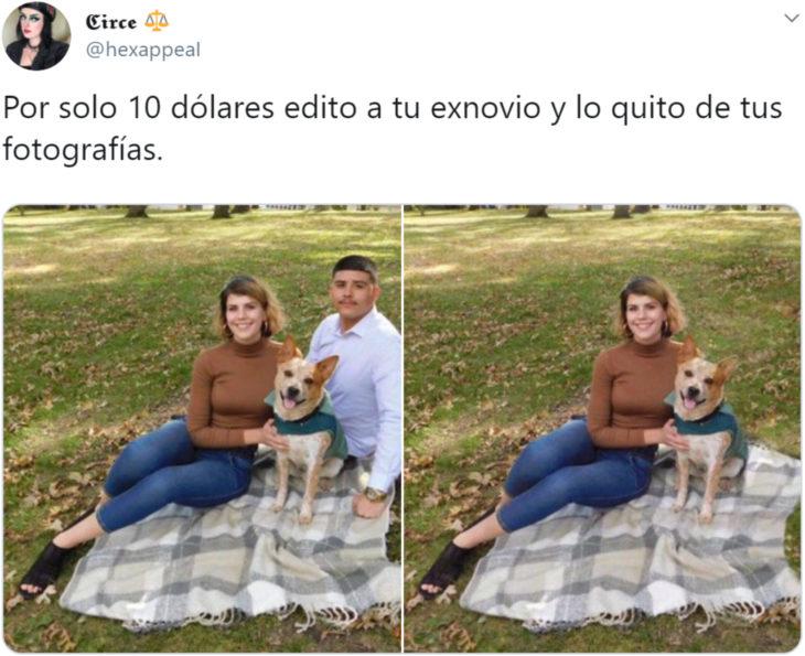Mujer en Twitter cobra 10 dólares para editar y quitar a tu ex de las fotografías
