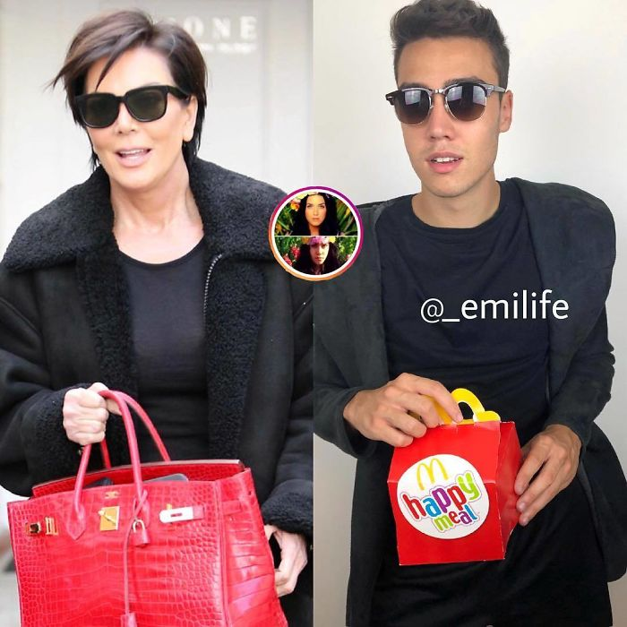 Emanuele Ferrari imitando a Kris Jenner con bolso rojo y saco negro
