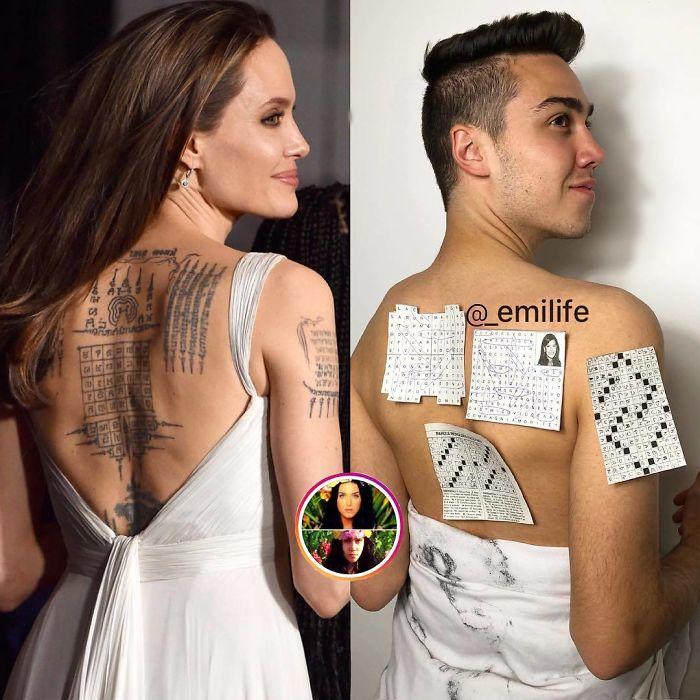 Emanuele Ferrari imitando el outfit de vestido escotado en espalda de Angelina Jolie