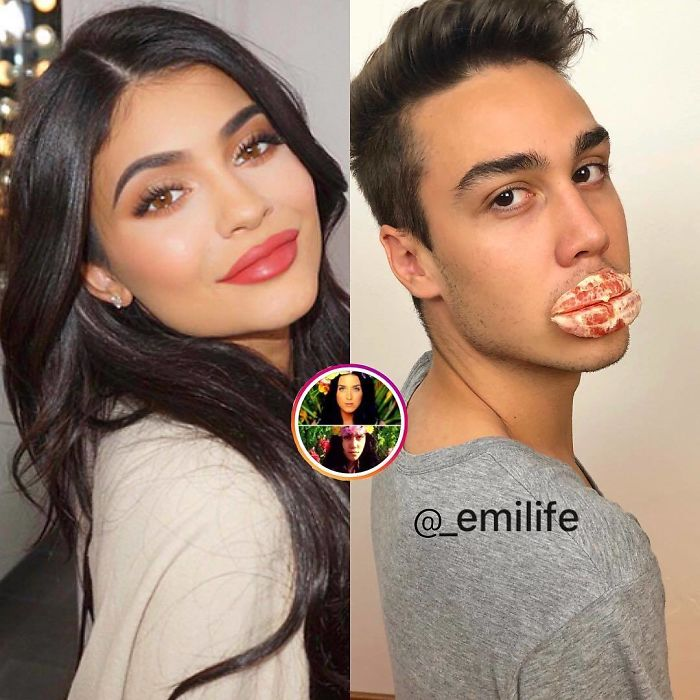 Emanuele Ferrari recreando una foto de Kylie Jenner mostrando sus labios anchos