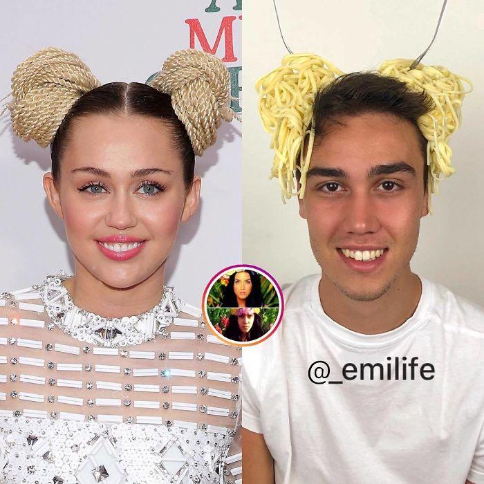 Emanuele Ferrari recreando el peinado de listones amarillos de Miley Cyrus