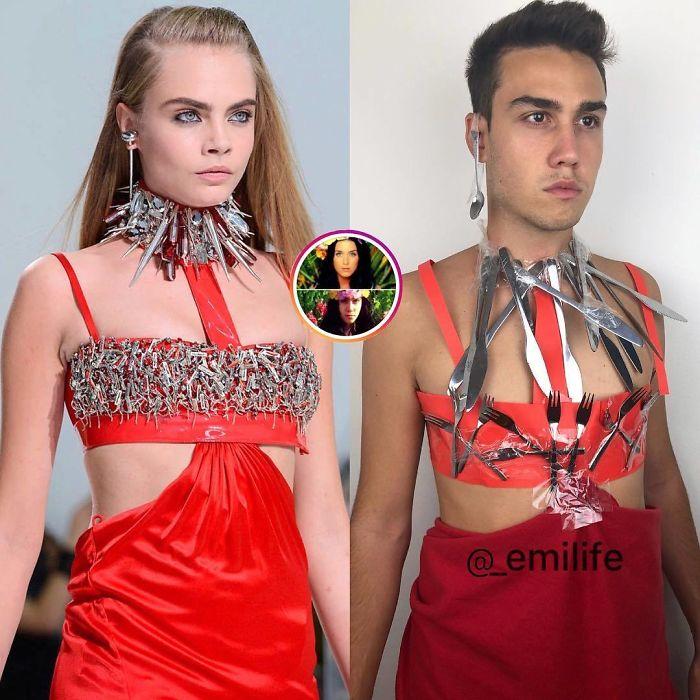 Emanuele Ferrari imitando el vestido rojo de Cara Delevigne en pasarela