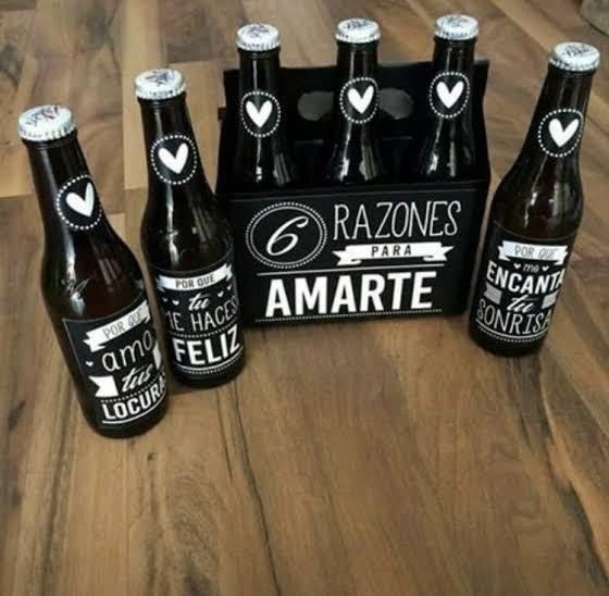 Six Pack de cervezas con razones de por qué te amo