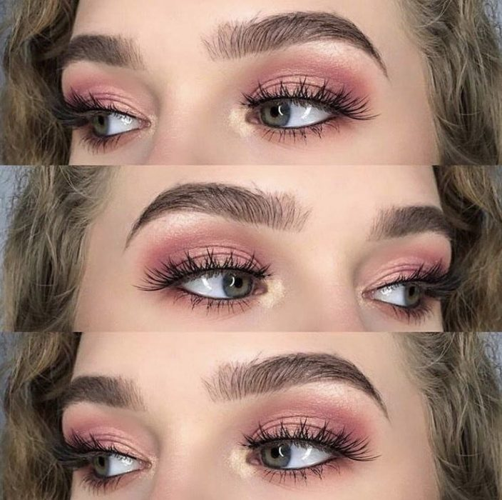 Maquillaje rose gold con sombra metalizada