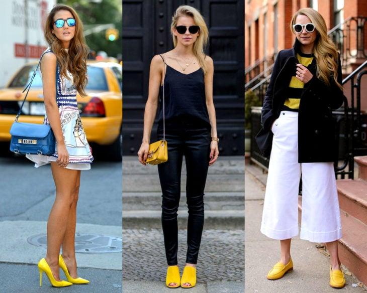 Conjuntos combinados con zapatos de colores; calzado amarillo