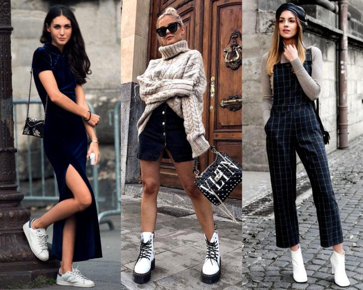 Combinar outfits con zapatos de colores; calzado blanco