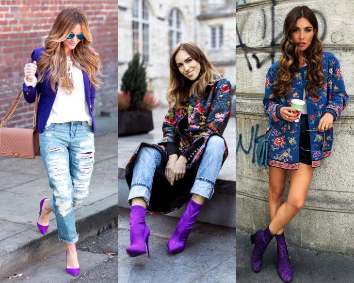 Combinar outfits con zapatos de colores; calzado morado