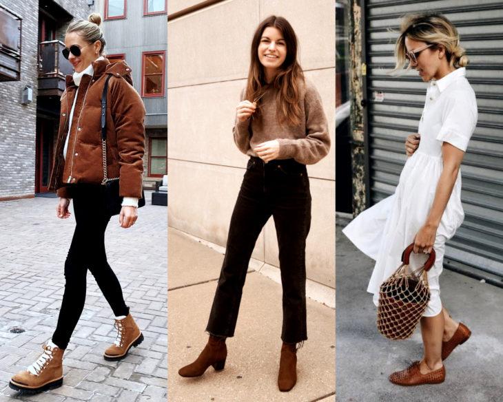 Combinar outfits con zapatos de colores; calzado café