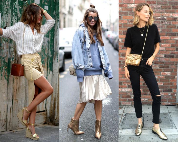 Combinar outfits con zapatos de colores; calzado dorado