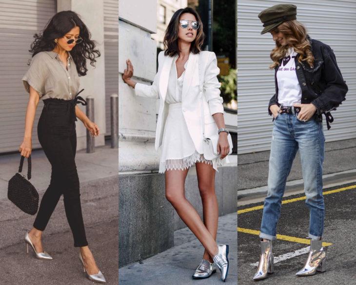 Conjuntos combinados con zapatos de colores; calzado plateado