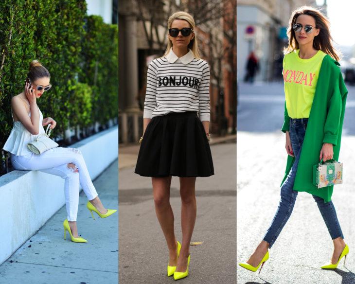 Combinar outfits con zapatos de colores; calzado neón