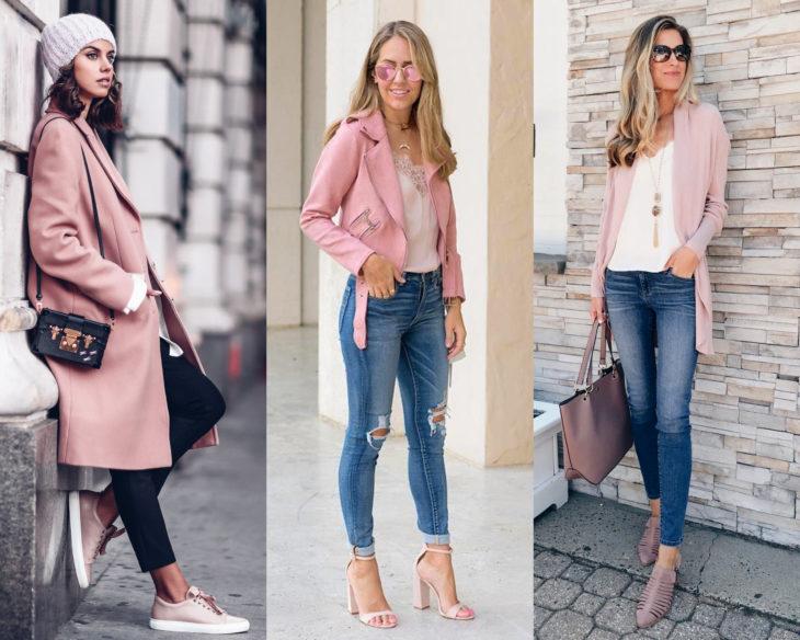 Conjuntos combinados con zapatos de colores; calzado rosa pastel