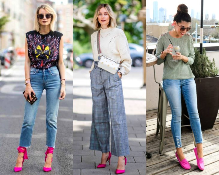 Combinar outfits con zapatos de colores; calzado rosa