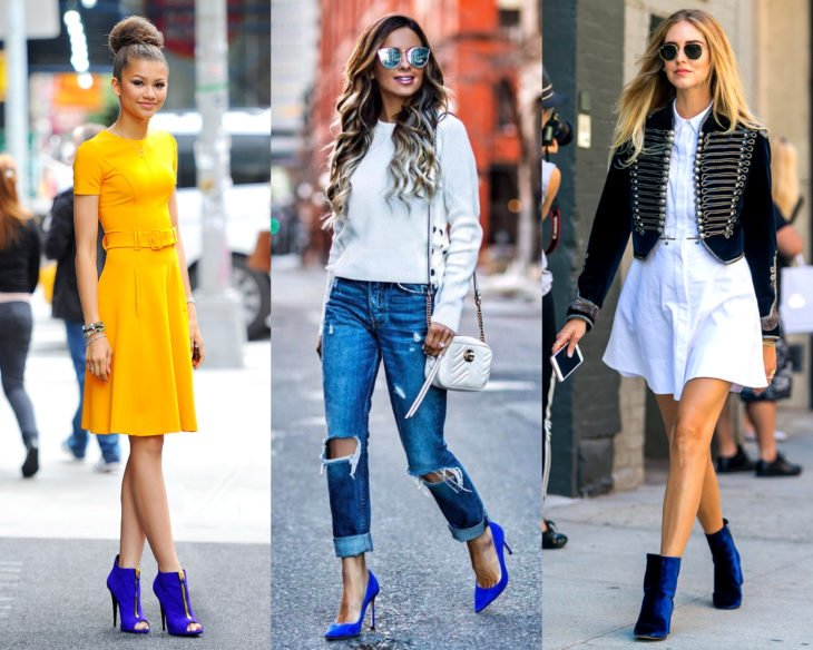 Conjuntos combinados con zapatos de colores; calzado azul rey