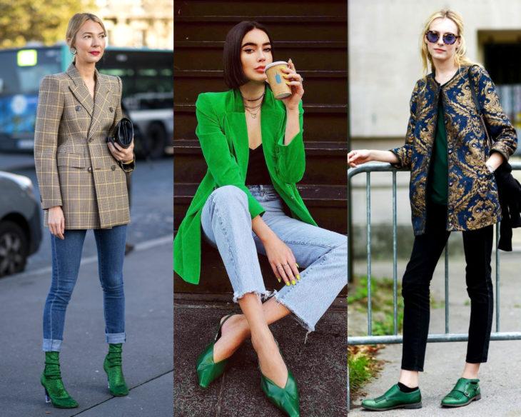Combinar outfits con zapatos de colores; calzado verde
