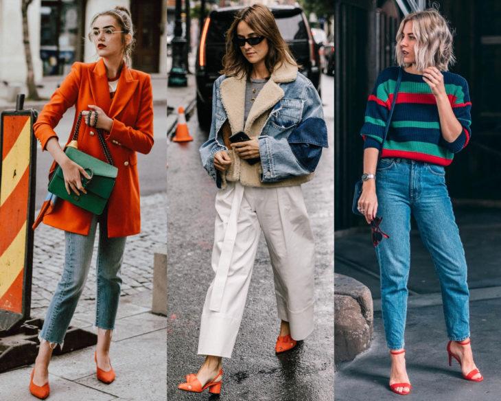 Conjuntos combinados con zapatos de colores; calzado anaranjado