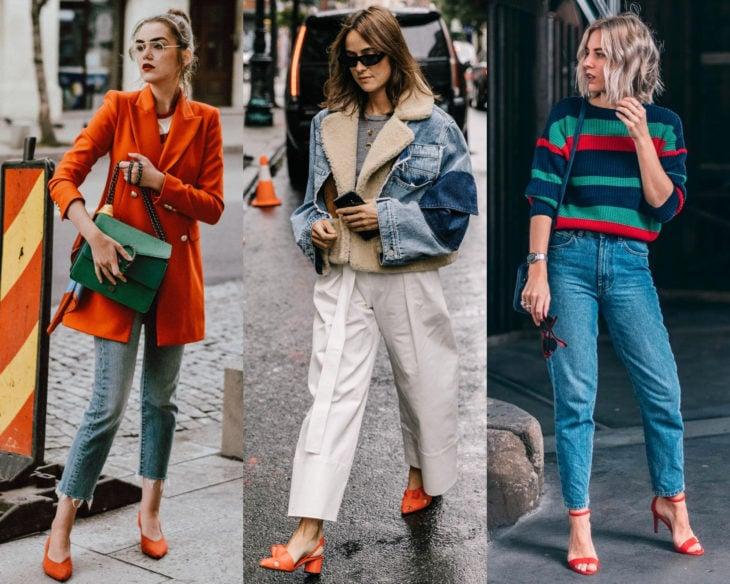 Combinar outfits con zapatos de colores; calzado anaranjado