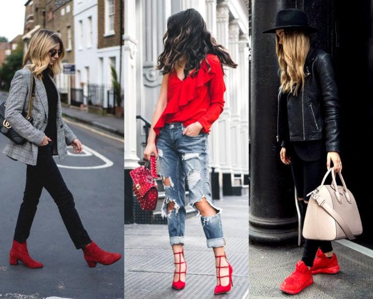 Conjuntos combinados con zapatos de colores; calzado rojo
