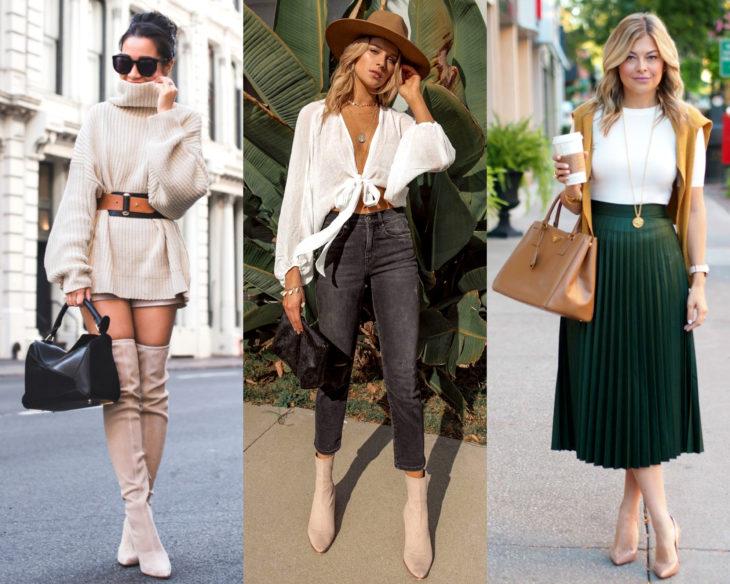 Combinar outfits con zapatos de colores; calzado nude