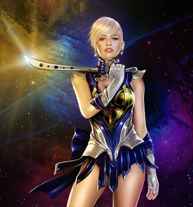 Ilustración de Ivanshine, Sailor Scouts, Sailor Urano, Miley Cyrus