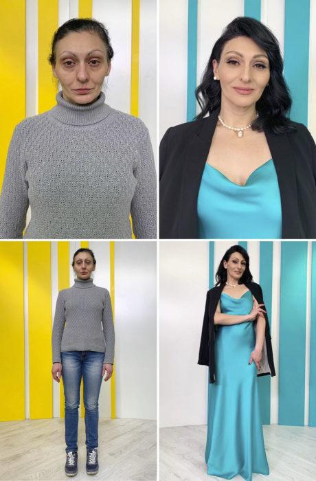 Mujer son suéter gris y jeans azules antes y después de cambiar de look por el estilista Alexandr Rogov