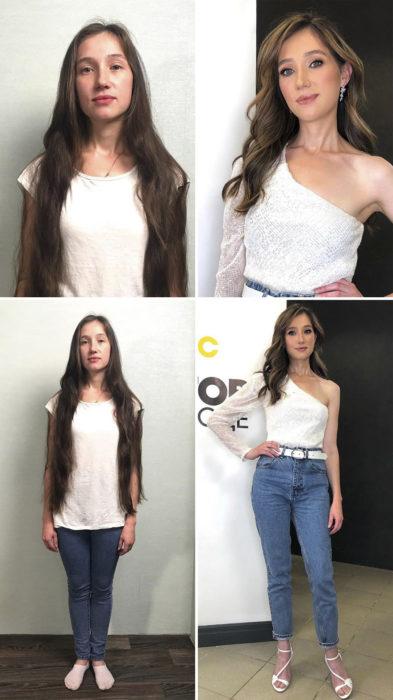 Chica con cabello extralargo, camisa blanca y jeans antes y después de cambiar de look por el estilista Alexandr Rogov