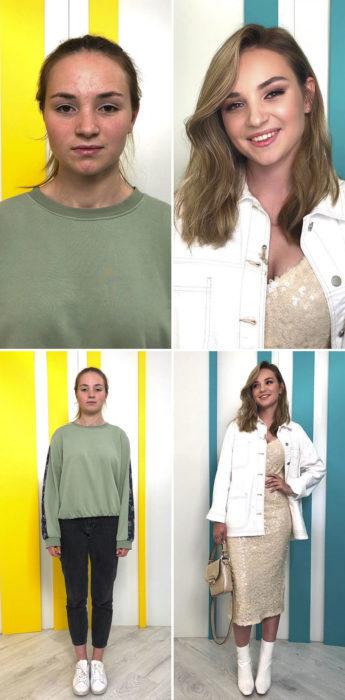 Mujer con suéter verde olivo y leggings negros antes y después de cambiar de look por el estilista Alexandr Rogov