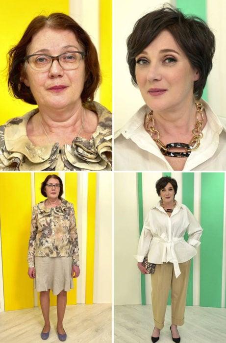 Mujer con cabello corto, ropa casual, antes y después de cambiar de look por el estilista Alexandr Rogov