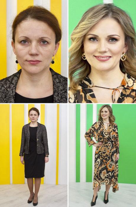 Mujer con vestido negro y saco gris antes y después de cambiar de look por el estilista Alexandr Rogov