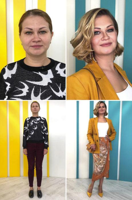 Mujer con suéter de palomas blancas antes y después de cambiar de look por el estilista Alexandr Rogov