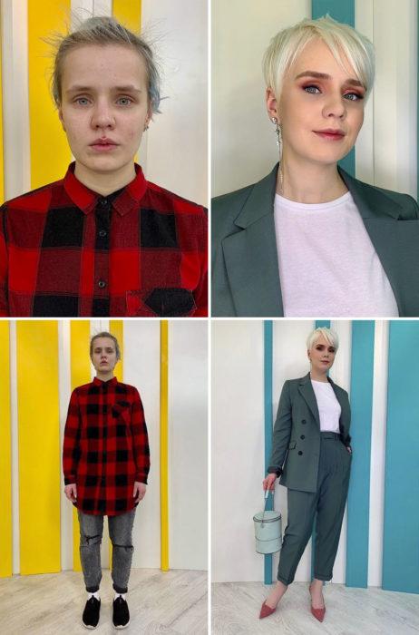 Chica con camisa a cuadros y leggings antes y después de cambiar de look por el estilista Alexandr Rogov