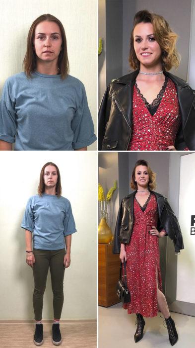 Mujer con camisa azul cielo y jeans verdes antes y después de cambiar de look por el estilista Alexandr Rogov