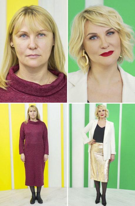 Mujer con vestido color vino, sin forma, antes y después de cambiar de look por el estilista Alexandr Rogov