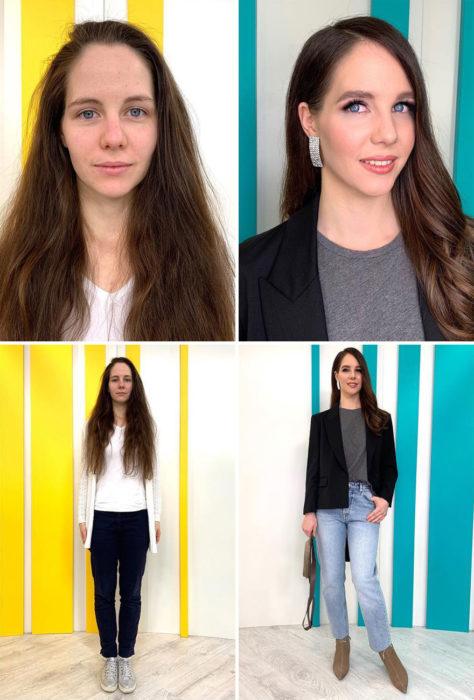 Mujer con blusa blanca y jeans negros antes y después de cambiar de look por el estilista Alexandr Rogov