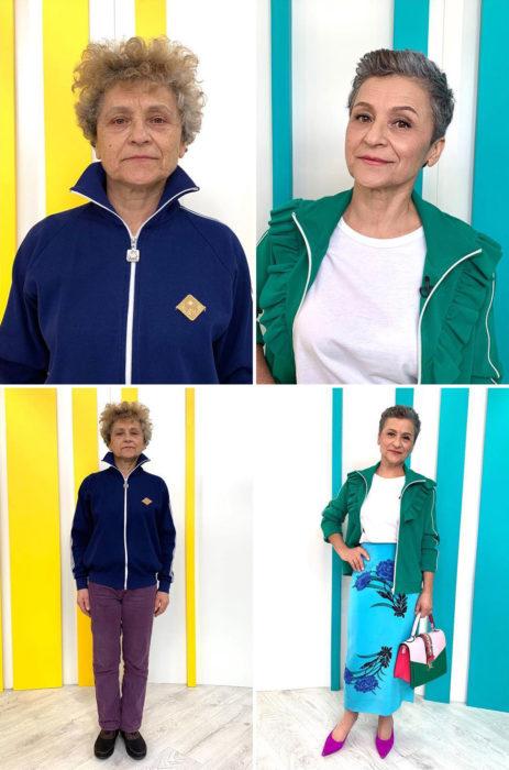 Mujer adulta con deortivos a cuadros y sudadera azul marino antes y después de cambiar de look por el estilista Alexandr Rogov