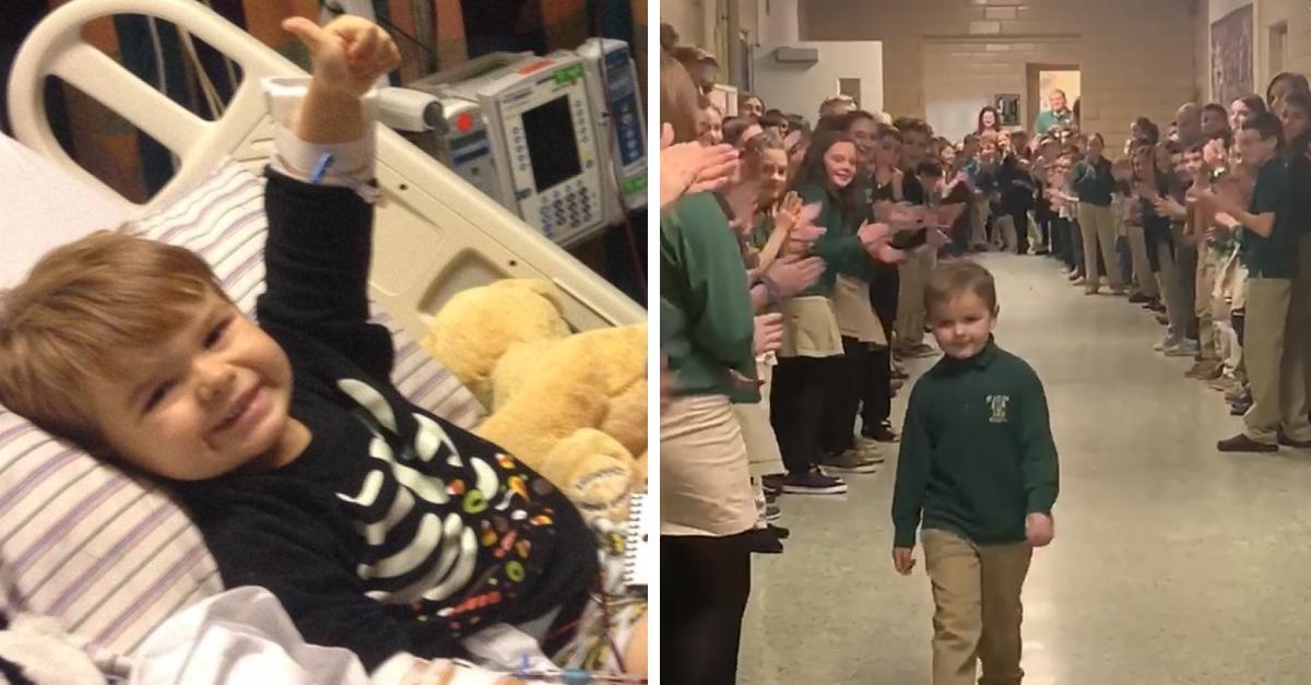 El emotivo regreso de un niño luego de vencer una enfermedad terminal