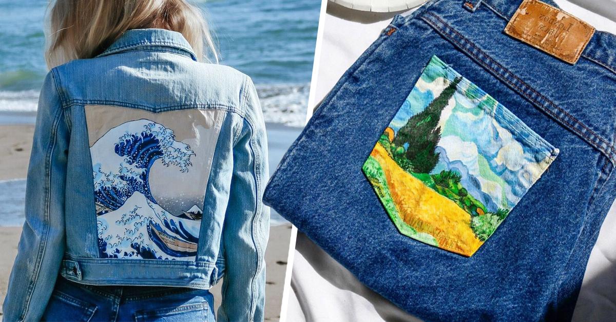 ¡Del museo a tu armario! Pintora convierte jeans en obras de arte