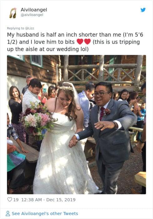Comentario en Twiter sobre mujer que se casó con un chico más bajo que ella