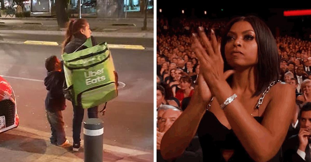 Repartidora trabaja a pie, lleva a su sobrino con ella y se gana el respeto de internet