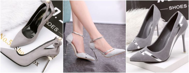 chicas modelando zapatos stilettos en color gris