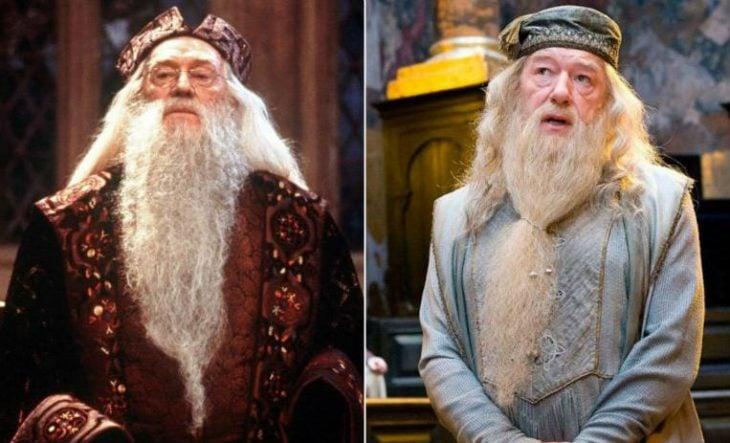 Richard Harris sustituido por Michael Gambon en su personaje de Albus Dumbledor en Harry Potter