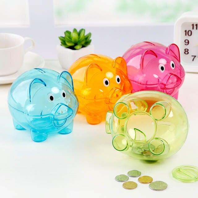 Juego de cerditos de colores de plástico efecto cristal