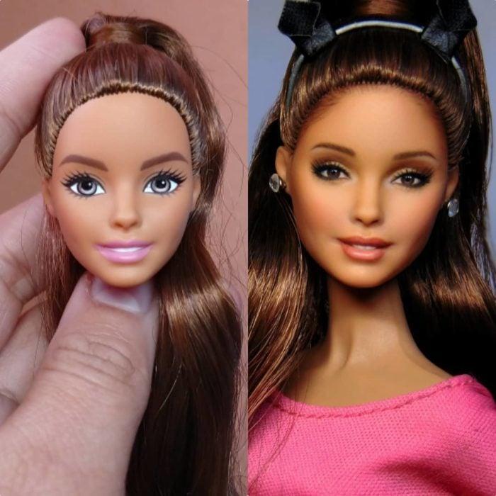 Muñeca tipo Barbie repintada para dar mayor parecido a Ariana Grande