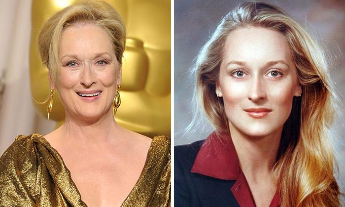 Meryl Streep en la etapa adulta y en su juventud