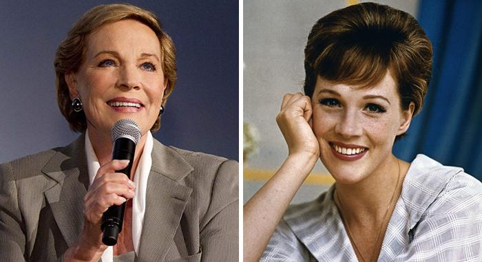 Julie Andrews en la etapa adulta y en su juventud