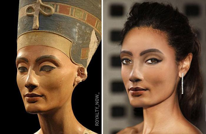 Nefertiti recreada en la época actual por el artista Royalty Now