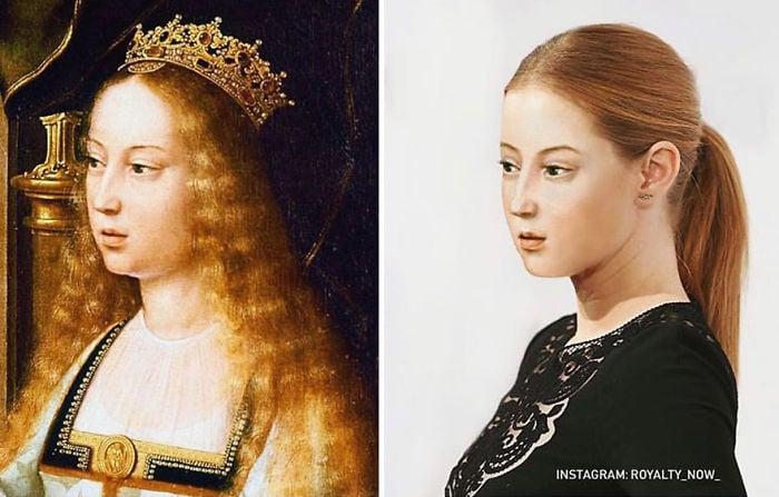 Reina Isabel de Castilla recreada en la época actual por el artista Royalty Now