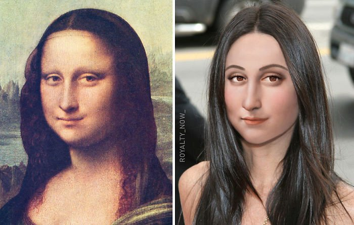 Mona Lisa recreada en la época actual por el artista Royalty Now