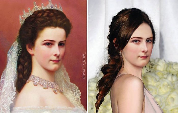 Elisabeth de Austria recreada en la época actual por el artista Royalty Now